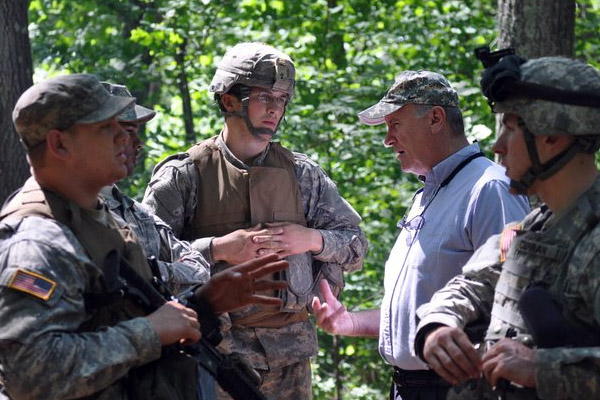 Ellerson talks things over with C Company. (BG Rapp)
