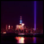 9/11 Memorial lights from Hoboken