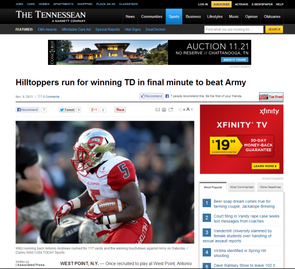 Hilltoppers run for winning TD in final minute to beat Army - The Tennessean - tennessean.com
