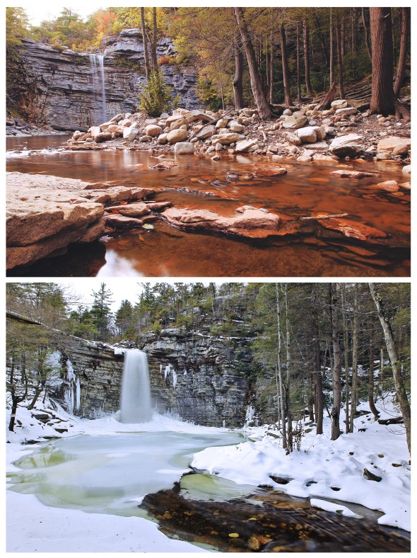 Awosting Falls before and after