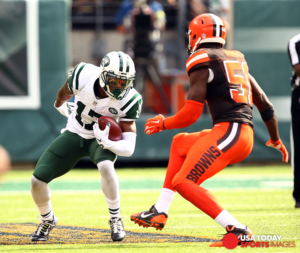 Sep 13, 2015; East Rutherford, NJ, USA; New York Jets wide receiver Chris Owusu (17) runs after a catch during the second half at MetLife Stadium. Mandatory Credit: Danny Wild-USA TODAY Sports
