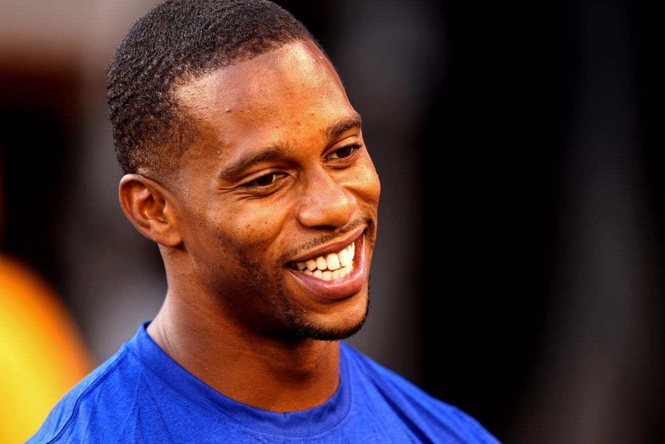 Aug 22, 2015; East Rutherford, NJ, USA; New York Giants wide receiver Victor Cruz (80) smiles while talking to fans before a game between the New York Giants and Jacksonville Jaguars at MetLife Stadium. Mandatory Credit: Danny Wild-USA TODAY Sports