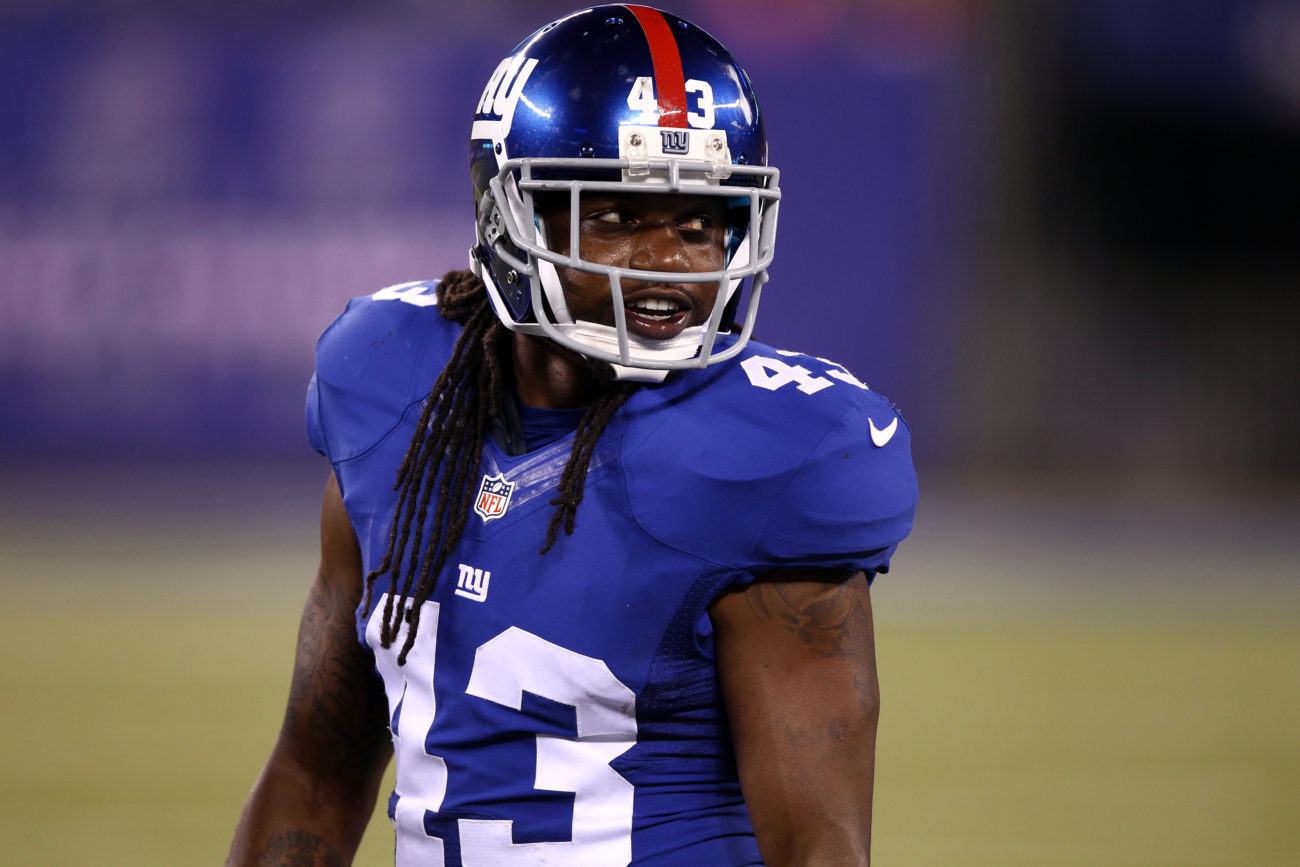 Aug 22, 2015; East Rutherford, NJ, USA; New York Giants safety Brandon Meriweather (43) plays in his Giants debut during the second half against the Jacksonville Jaguars at MetLife Stadium. Meriweather signed earlier in the week. Mandatory Credit: Danny Wild-USA TODAY Sports