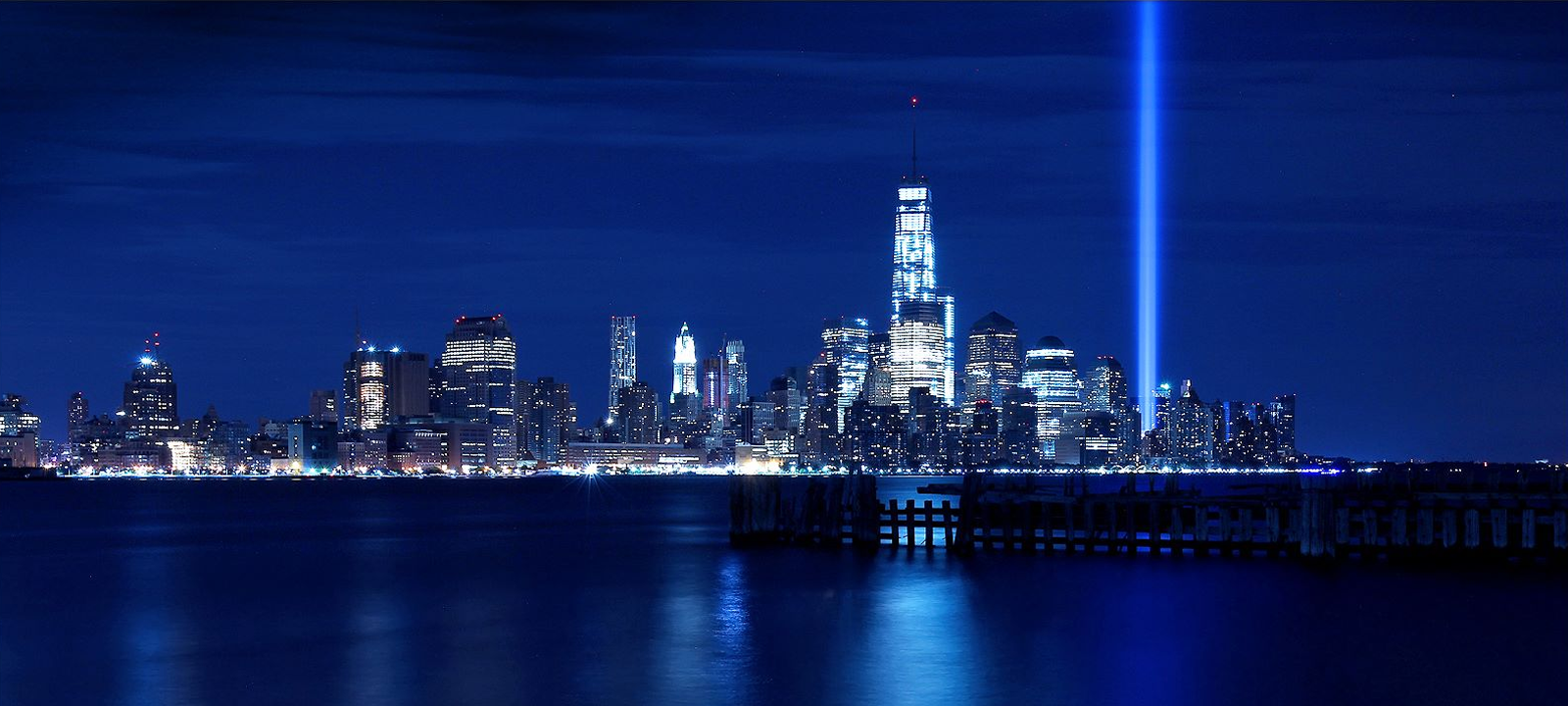 September 11 memorial lights up the Manhattan sky