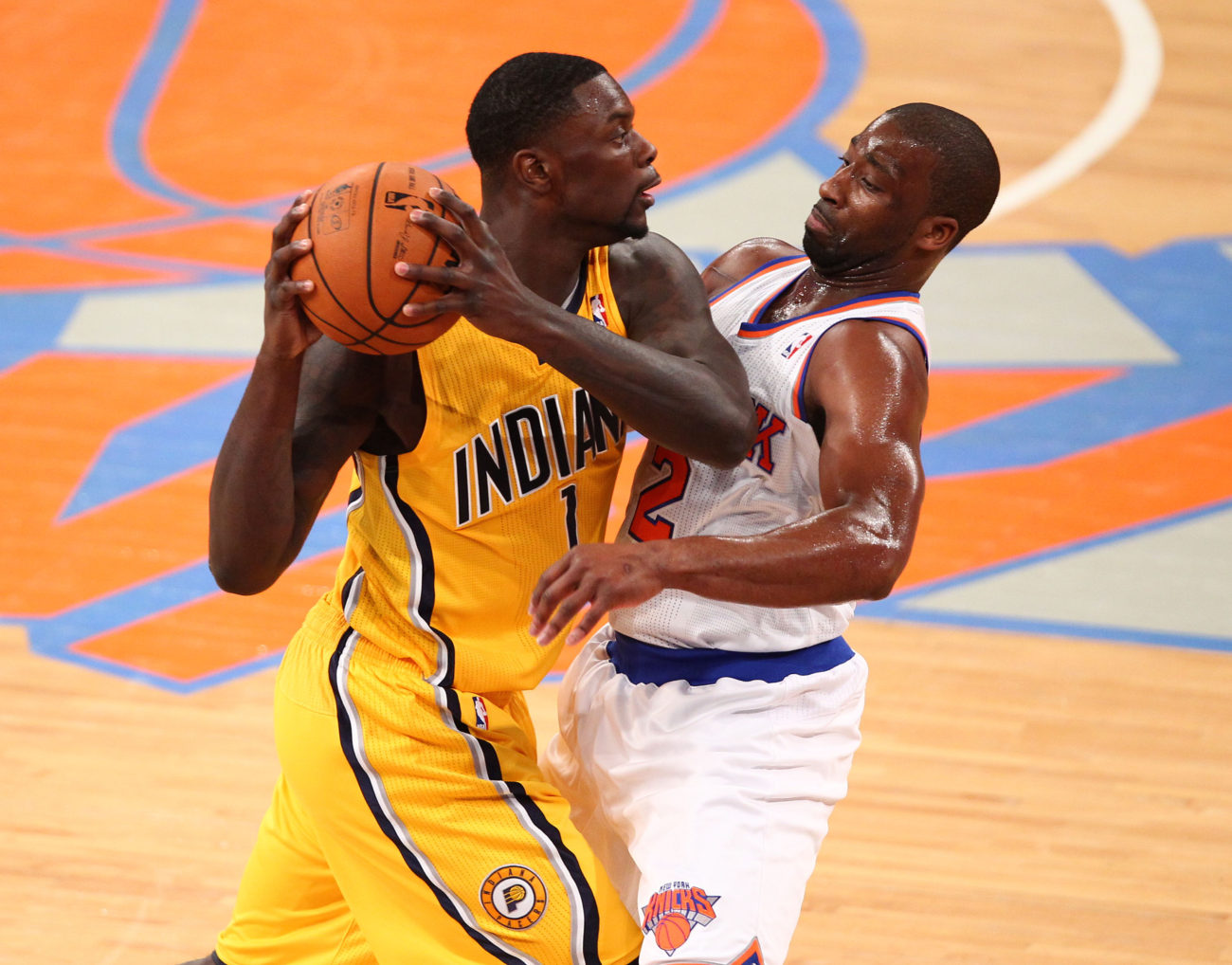 May 5, 2013; New York, NY, USA; Indiana Pacers guard Lance Stephenson (1) is defended by New York Knicks point guard Raymond Felton (2) at Madison Square Garden. Mandatory Credit: Danny Wild-USA TODAY Sports