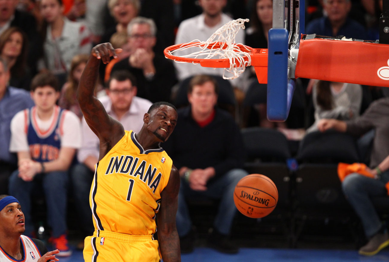 May 5, 2013; New York, NY, USA; Indiana Pacers guard Lance Stephenson (1) dunks the ball during the first half at Madison Square Garden. Mandatory Credit: Danny Wild-USA TODAY Sports