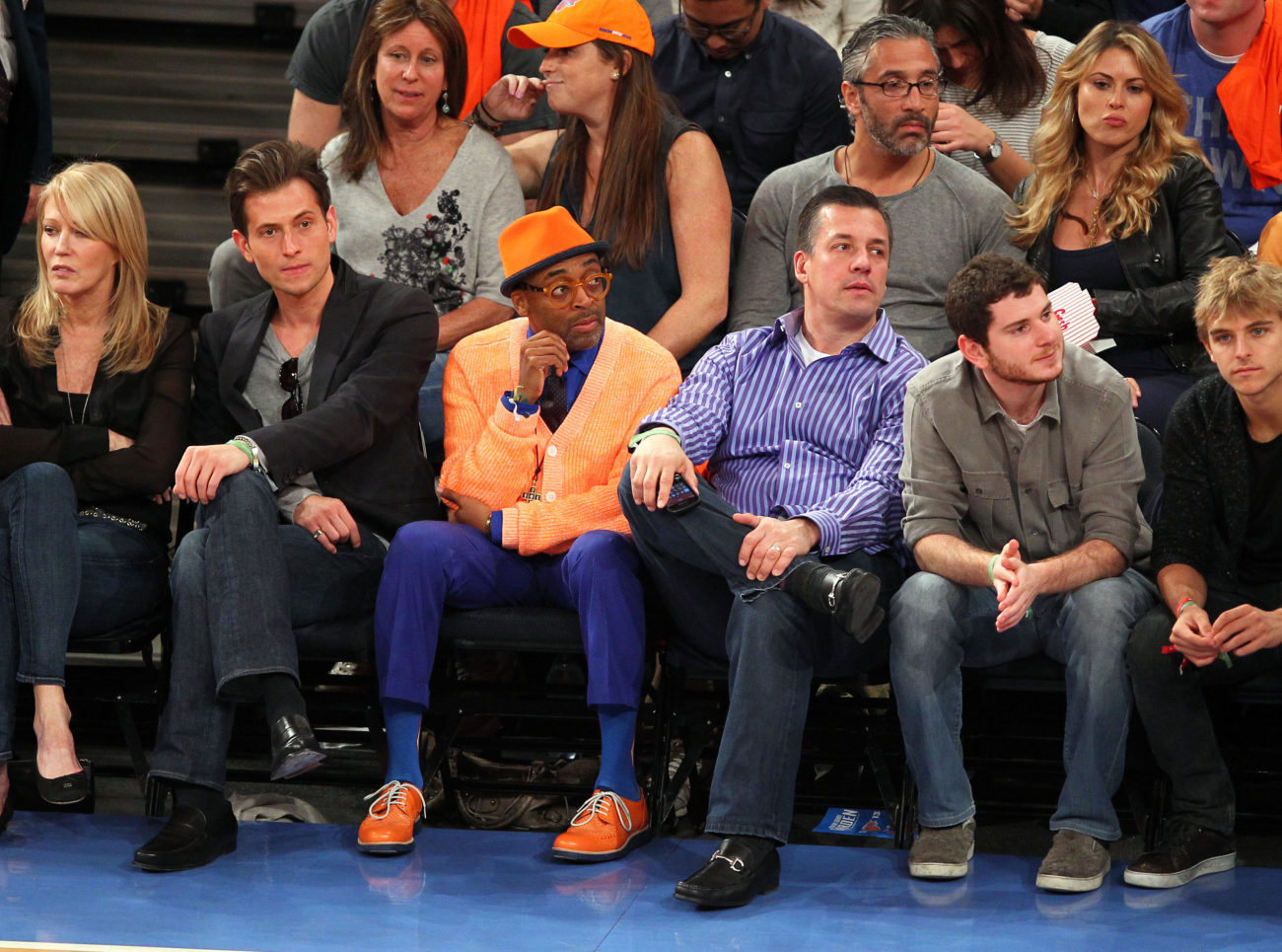 May 5, 2013; New York, NY, USA; Spike Lee watches the game between the New York Knicks and Indian Pacers at Madison Square Garden. Mandatory Credit: Danny Wild-USA TODAY Sports
