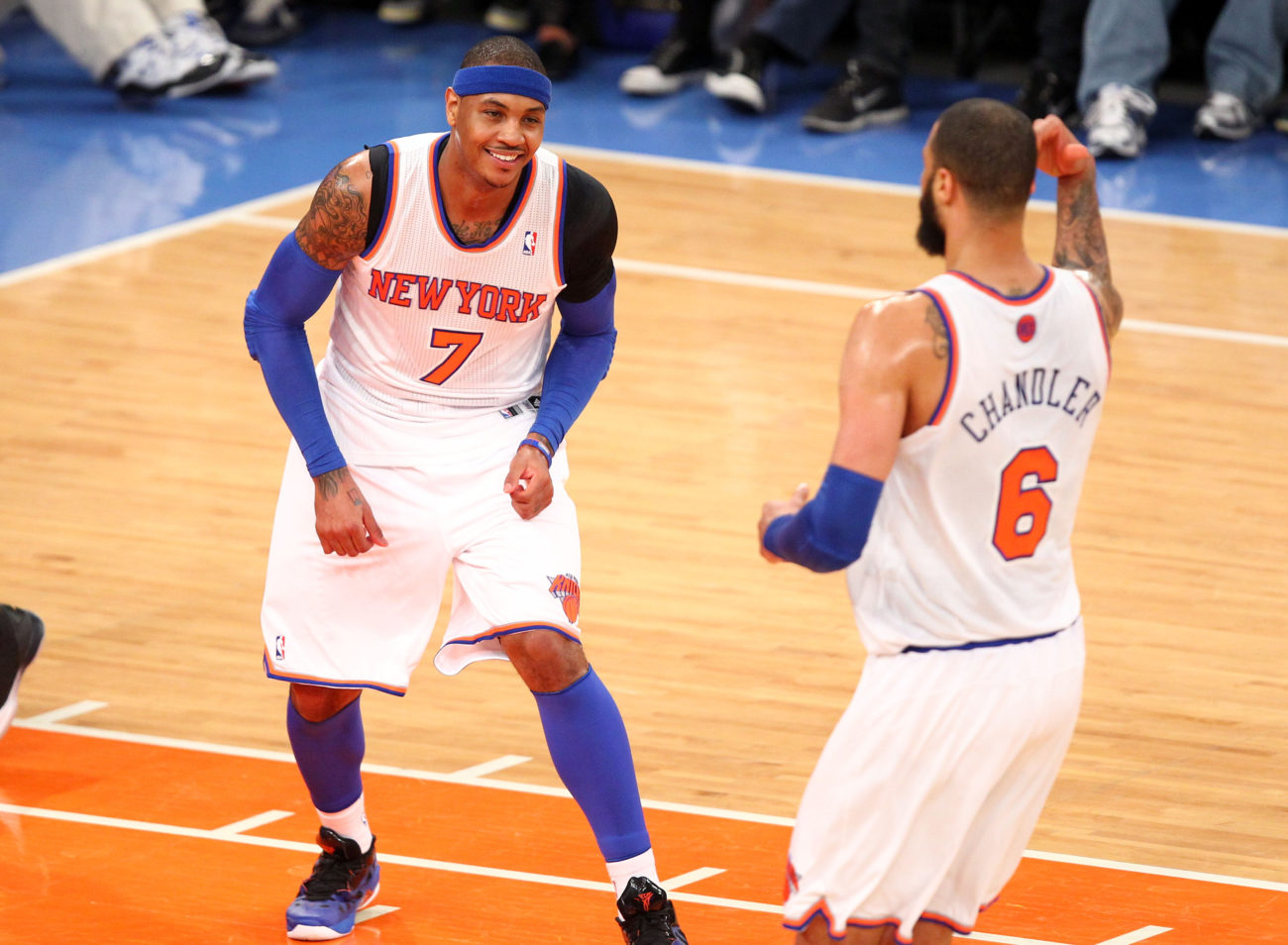 May 5, 2013; New York, NY, USA; New York Knicks forward Carmelo Anthony (7) reacts after hitting a shot against the Indiana Pacers at Madison Square Garden. Mandatory Credit: Danny Wild-USA TODAY Sports