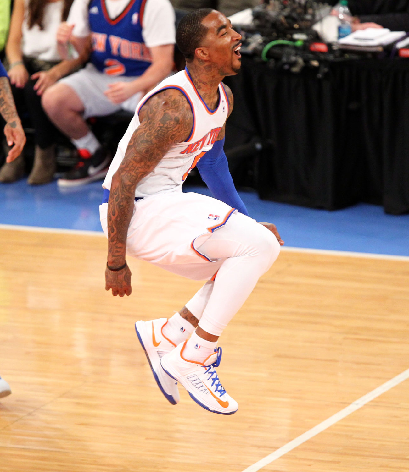 May 5, 2013; New York, NY, USA; New York Knicks guard J.R. Smith (8) reacts during the first half at Madison Square Garden. Mandatory Credit: Danny Wild-USA TODAY Sports
