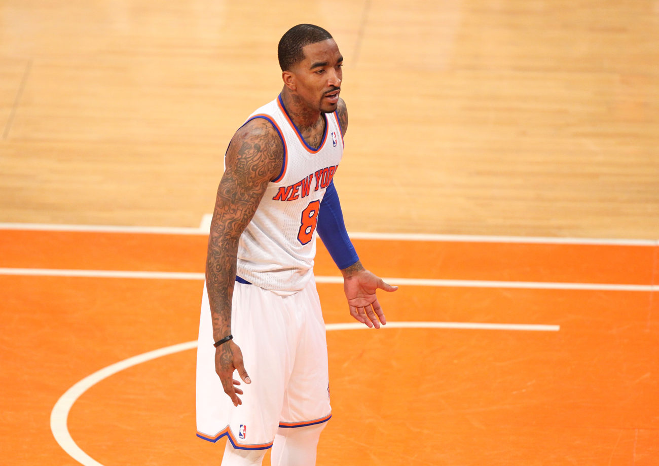 May 5, 2013; New York, NY, USA; New York Knicks guard J.R. Smith (8) reacts to a call by the referee during the second half at Madison Square Garden. Mandatory Credit: Danny Wild-USA TODAY Sports