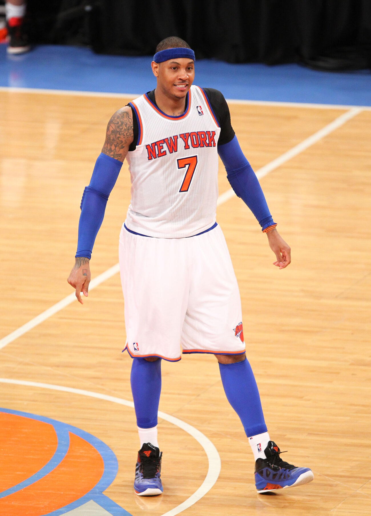 May 5, 2013; New York, NY, USA; New York Knicks forward Carmelo Anthony (7) smiles during the second half against the Indiana Pacers at Madison Square Garden. Mandatory Credit: Danny Wild-USA TODAY Sports