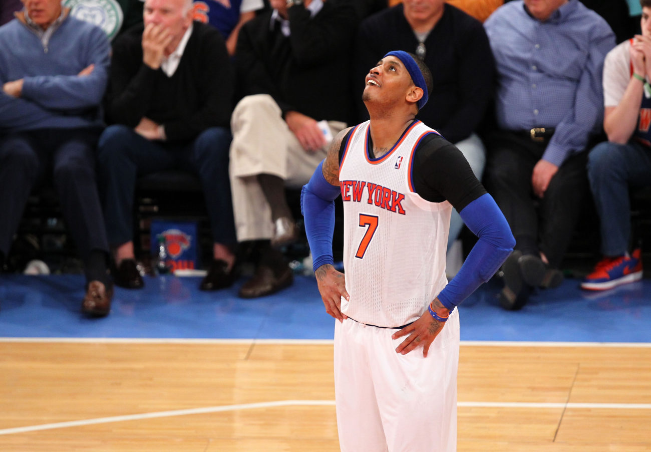 May 5, 2013; New York, NY, USA; New York Knicks forward Carmelo Anthony (7) reacts to a call by the referee during the second half against the Indiana Pacers at Madison Square Garden. Mandatory Credit: Danny Wild-USA TODAY Sports
